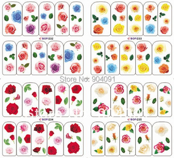 Wholesale BOP Series 263 different design 1000pcs/LOT WATER DECAL NAIL ART NAIL TATTOOS STICKER+individually packaging