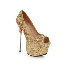 women high heel quality ladies fashion peep open toe shoes woman sexy high heels glitter leather heeled pumps big size 34-43(China (Mainland))