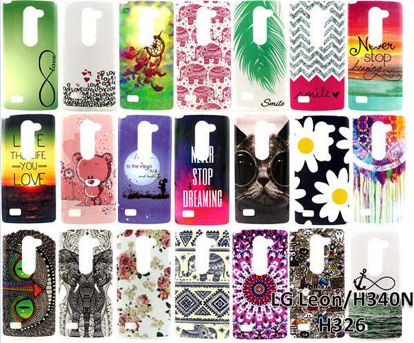 Case For LG Leon Covers 2015 Wholesale Cartoon Cute Graffiti Owl Elephant Bear Flowers Feathers Soft TPU Back Covers Phone Case(China (Mainland))