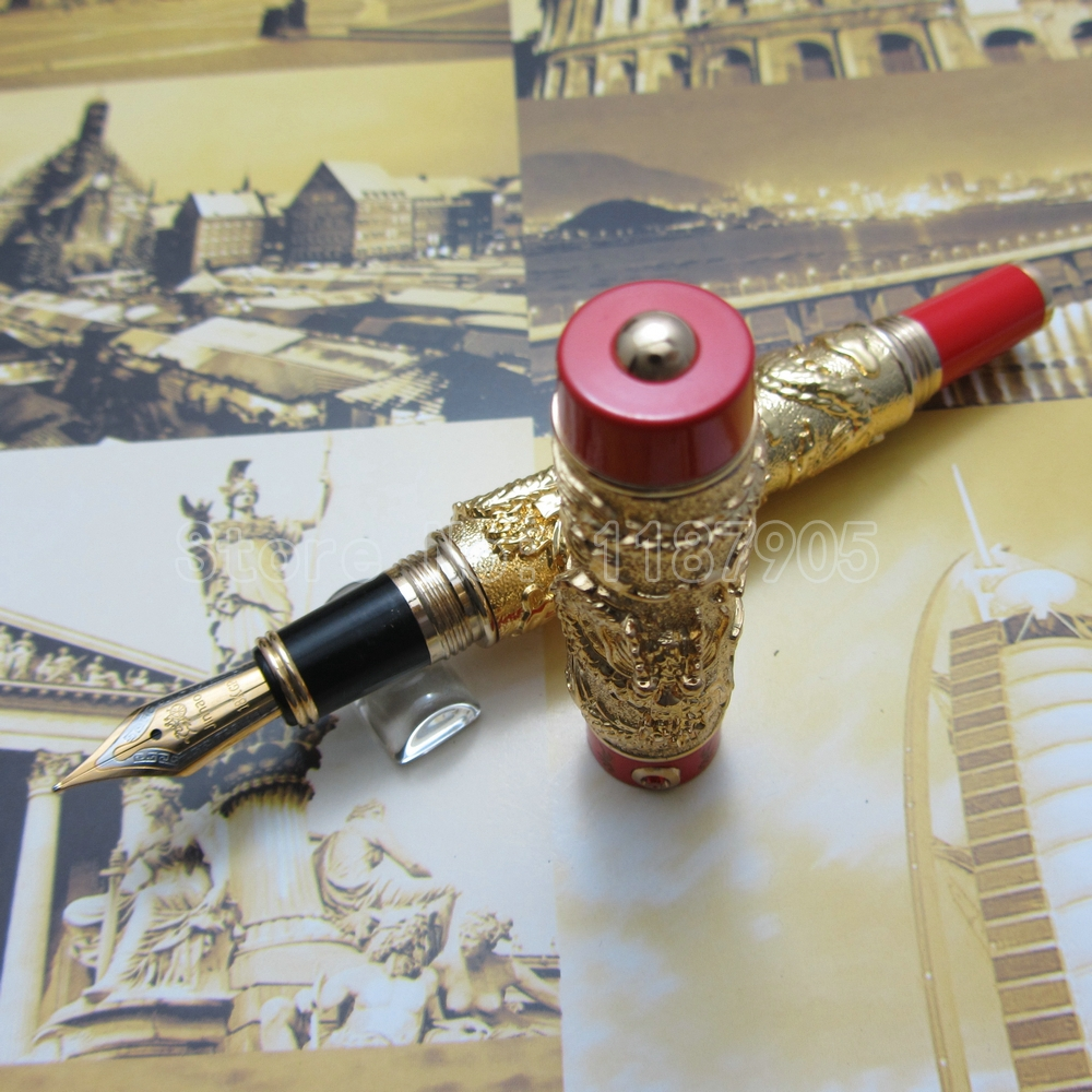 Jinhao Chinese double Dragons Playing With The Pearl  Heavy pen Advanced Fountain Pen with Gift Box Silver Gold J33TY5<br><br>Aliexpress