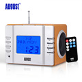 August MB300 Mini Wooden FM Radio with Music Alarm Clock Portable Stereo System with SD Card