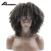 Buy Anogol African American Synthetic Lace Front Wig Hand Tied Kinky Curly Glueless Heat Resistant Fider Hair Wigs Black Women for $37.60 in AliExpress store