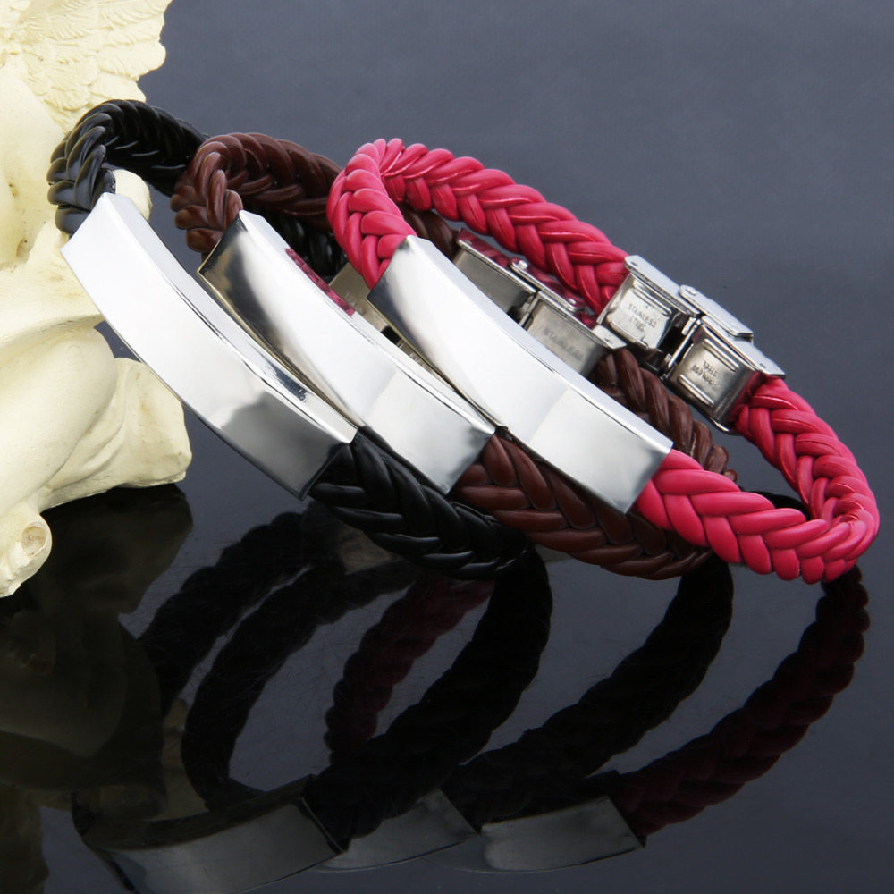 Super price! Mother's day unique family gift for lover titanium leather bracelet engrave service adjust length women men Jewelry(China (Mainland))