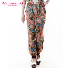 Free shipping 2015 Summer New Women's Casual pants / Fashion Loose Chiffon Elastic Waist Paisley Pants / trousers Full Length(China (Mainland))