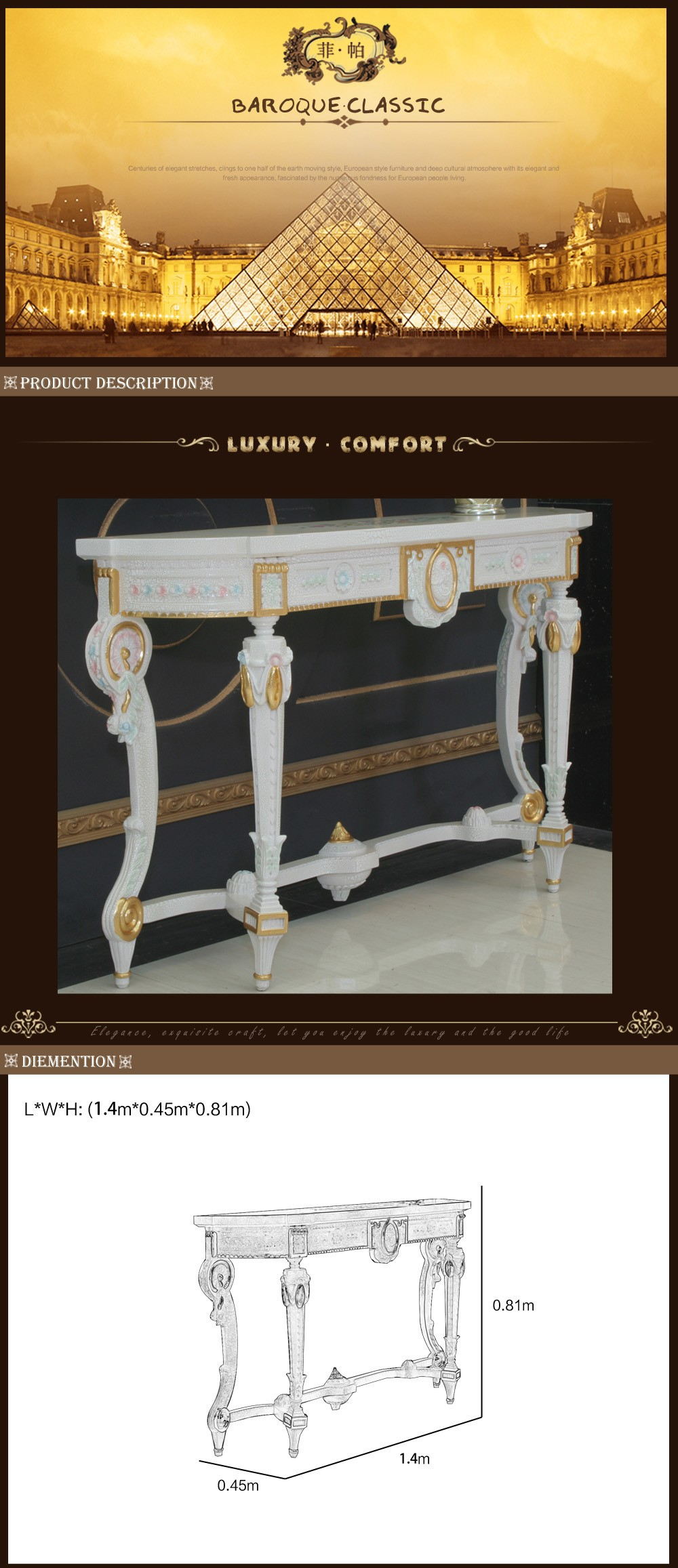 china factory direct sale Hand carved wooden furniture-dressing table italian furniture