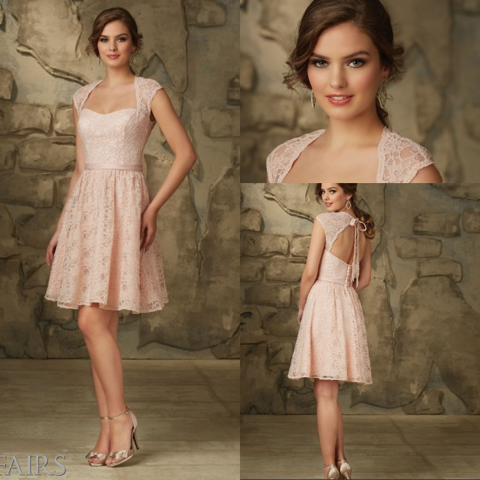 Modern Country Chic Wedding Dress : New arrival country style bridesmaid dresses open back short lace