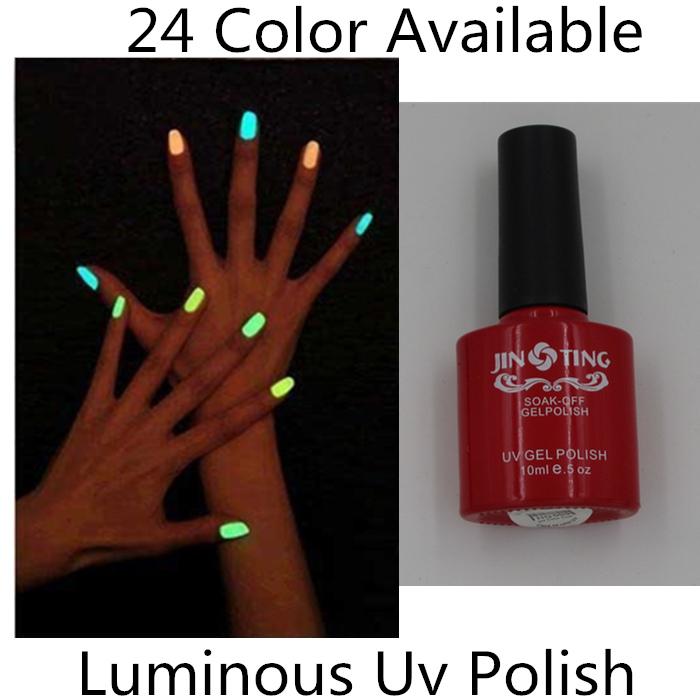 New luminous nail polish Night brightness Gel Phosphor fluorescent paint phototherapy general 24 color for UV / Led lamp(China (Mainland))