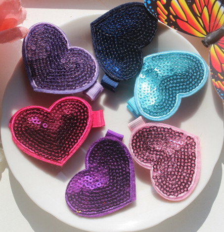 Spring Arrival 30pcs/lot Fashion Sequin Flower Baby Girl Hair Clip High Quality Ribbon Lined Alligator for Your Children Hairpin(China (Mainland))