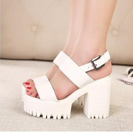 Chunky White Heel
