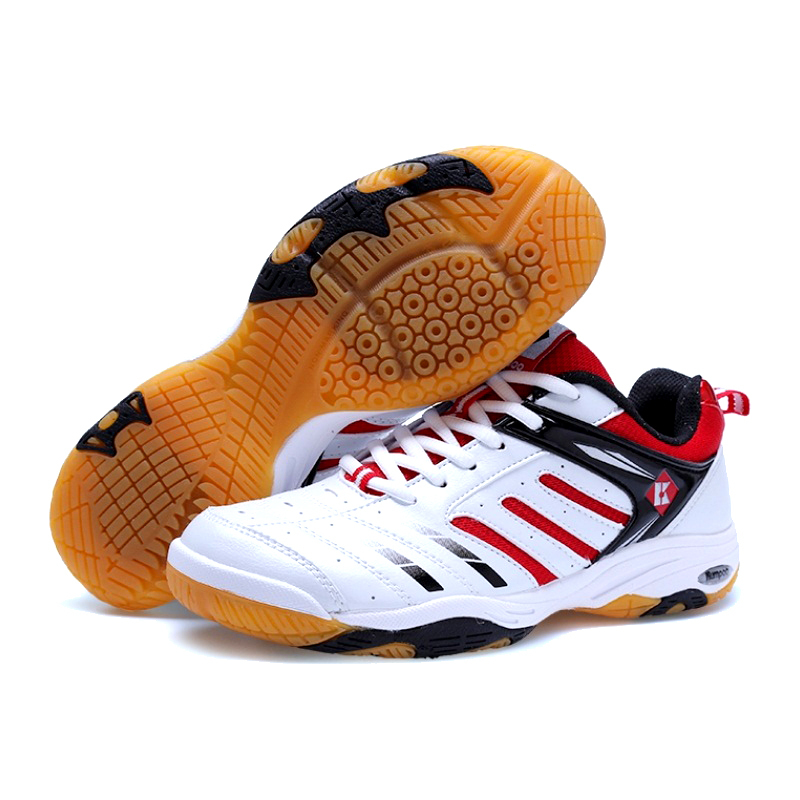 Newest men's breathable leather badminton shoes damping EVA sole professional traning shoes women sneakers size 34-45 #B1935