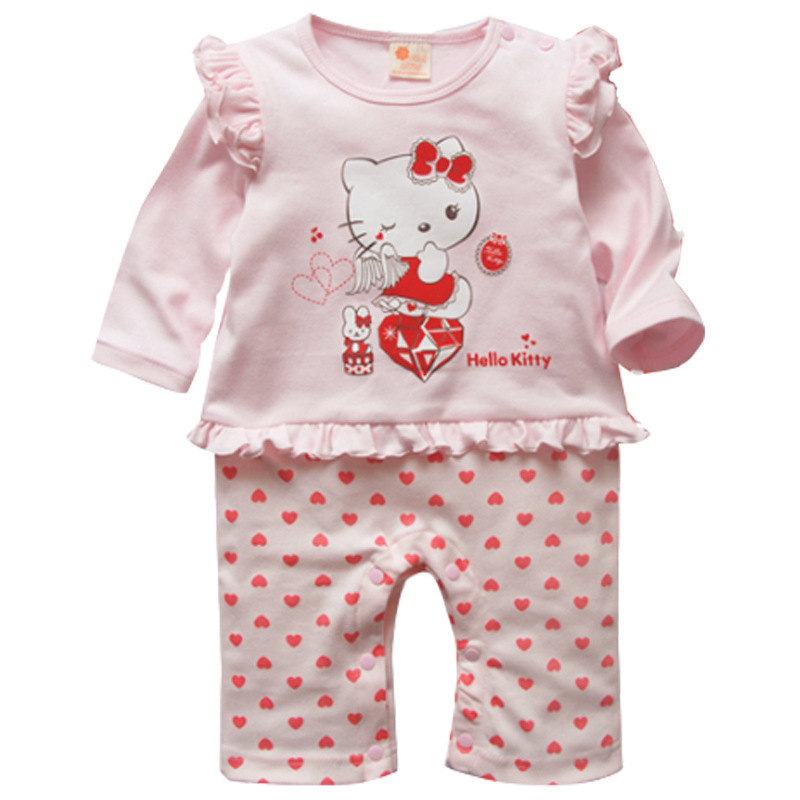 hot sale 2015 New spring Baby Cotton Rompers Boy Girls Infant Cartoon hello kitty jumpsuit(China (Mainland))