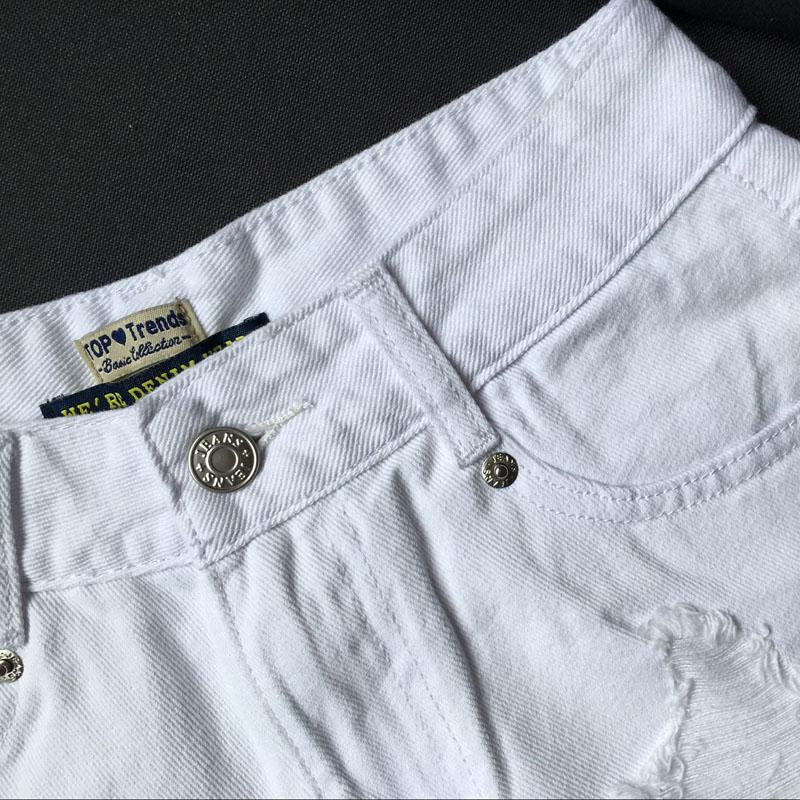 Fashion cotton Hot Denim Shorts women Sexy hole White Frayed Edges high Waist short jeans 2017 casual pockets Ripped shorts