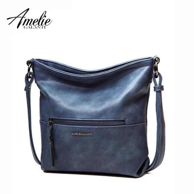 AMELIE GALANTI 2016 Women Messenger shoulder Bag Vintage High Quality crossbody bags Casual Solid Zipper 4 Colors fashion 2016