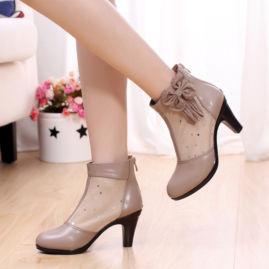 Genuine Leather High-Heeled Shoes Spring And Summer Womens Ankle Boots Hollow Out Plus Size 40 Cowhide Bowtie Beading Shoes<br><br>Aliexpress