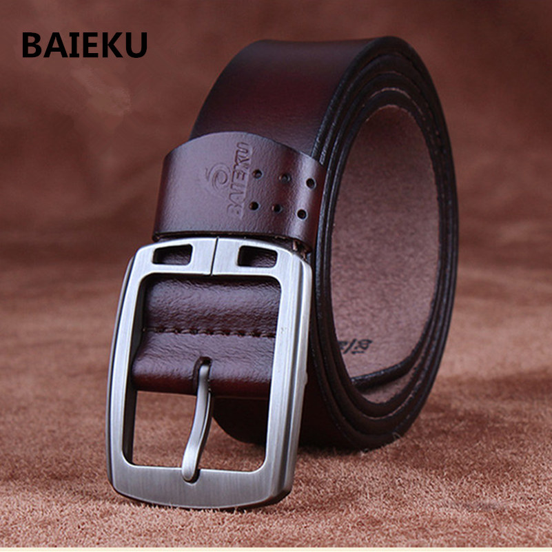 BAIEKU 100% cowhide genuine leather belts for men brand Strap male pin buckle vintage jeans cowboy Cinto Masculino Casual belt(China (Mainland))