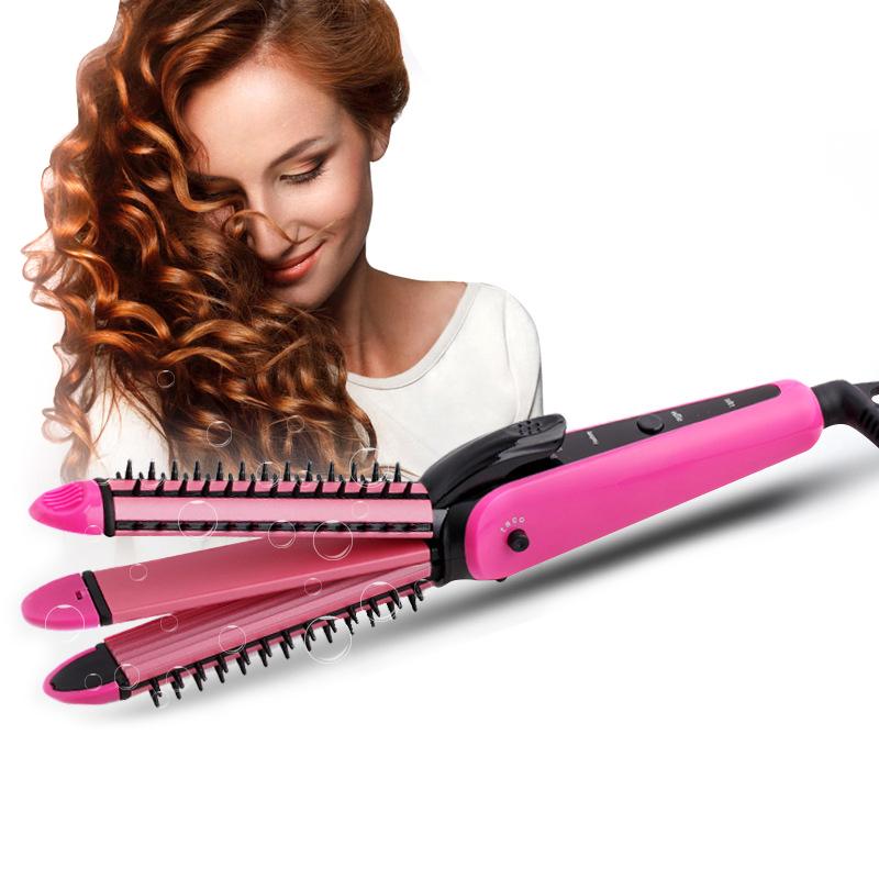 3-in-1 electric hair straightening machine professional ceramic straightening corrugated iron hair straightener and hair curling(China (Mainland))