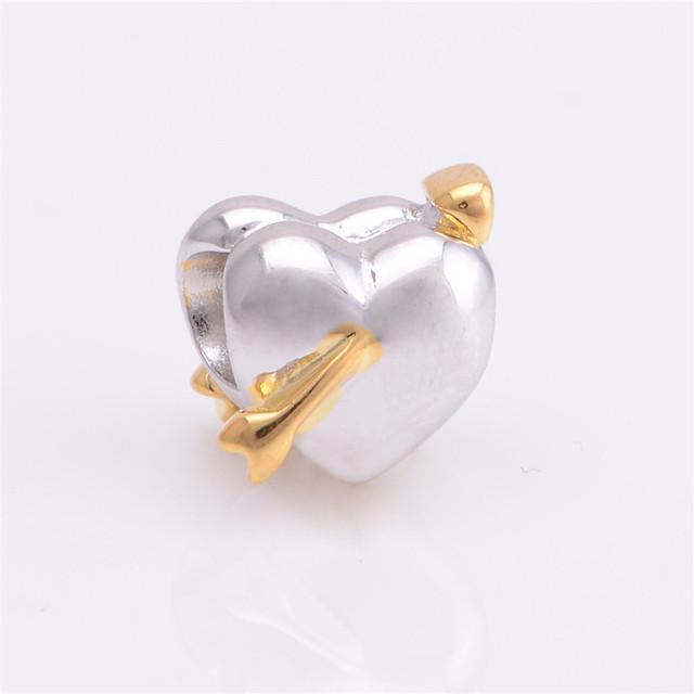 Бусины s925 стерлингового серебра Jewerly в форме сердца любовь с золотая стрела DIY выводы ввбр женщины подходит пандора Chamilia подвески браслеты