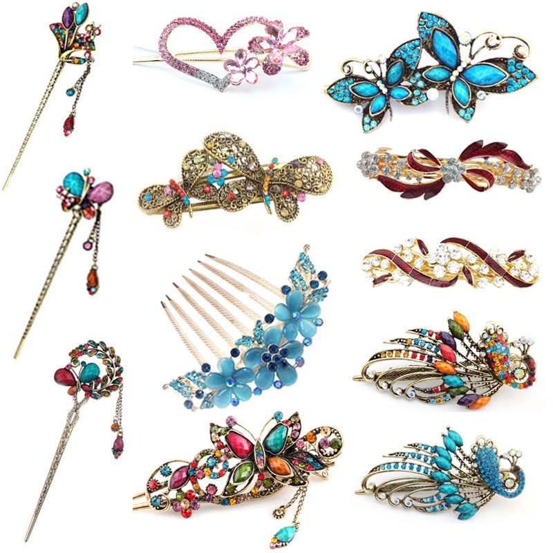 1 pcs Stylish Female Retro Hairpin Crystal Butterfly Flower Combs Hair Stick Hairpins Hair Clip(China (Mainland))