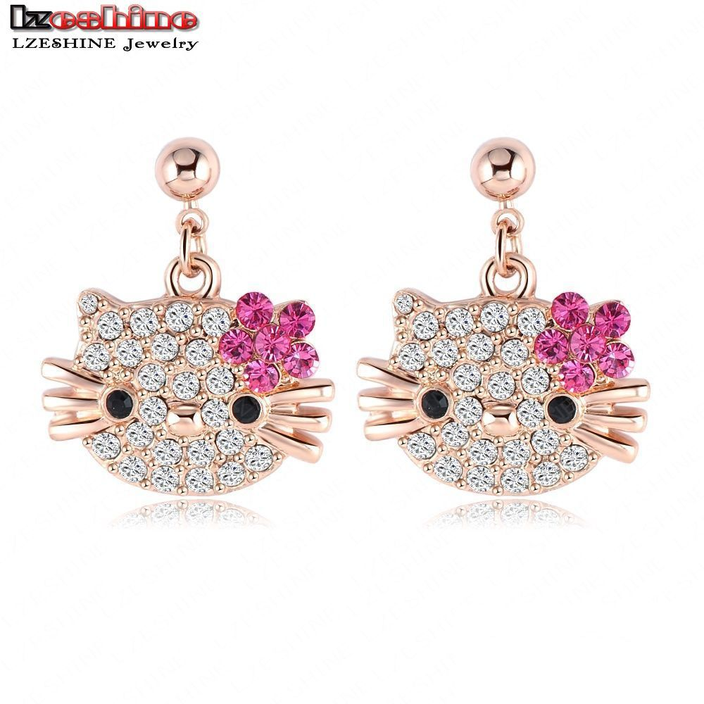 Lovely Cat Flower Stud Earring for Girls 18K Rose Gold Plate Austrian Crystal Kitten Earings With SWA Elements Brinco ER0109-A(China (Mainland))