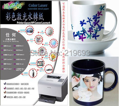 (10 clear+10 white) A4 size laser water transfer paper for mark cup DIY individuation mark cup(China (Mainland))
