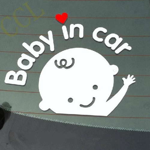 Free shipping Cartoon Car Stickers Reflective Vinyl Styling Baby In Car Warming Car Sticker Baby on