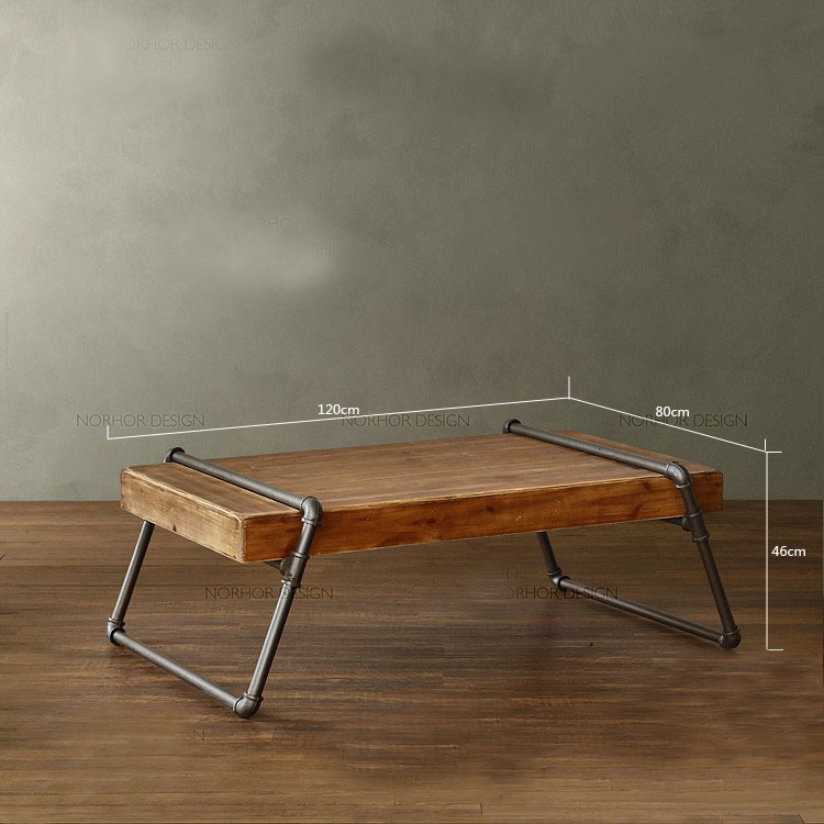 American Home Simple vintage wrought iron casual living room coffee table LOFT industrial style wood square tea table(China (Mainland))