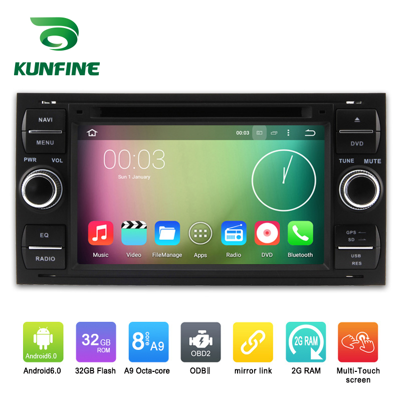 Octa Core 1024*600 Android 6.0 Car DVD GPS Navigation Multimedia Player Car Stereo for Ford focus 1999-2008 Silver Radio WIFI(China (Mainland))