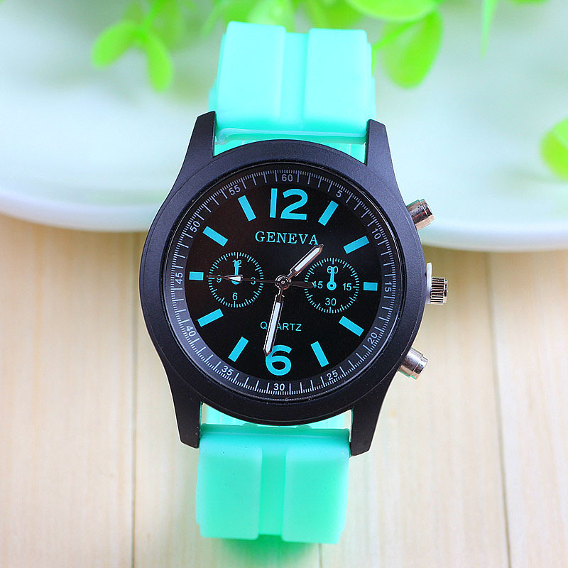 12 colors New Fashion Silicone GENEVA Watch Ladies Women Dress Quartz Watches - aiwise store