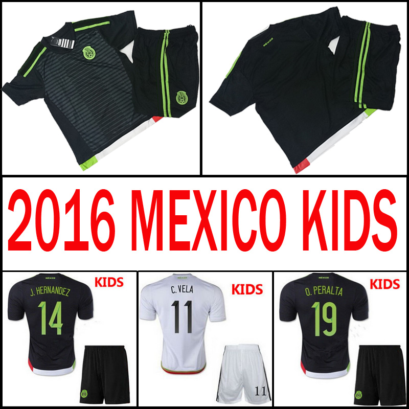 Soccer Jersey Mexico Kids Mothercare 2016 Children Sports Uniform Black 2015 Boys White 15 16 G.Dos Santos Baby Boys Kit(China (Mainland))