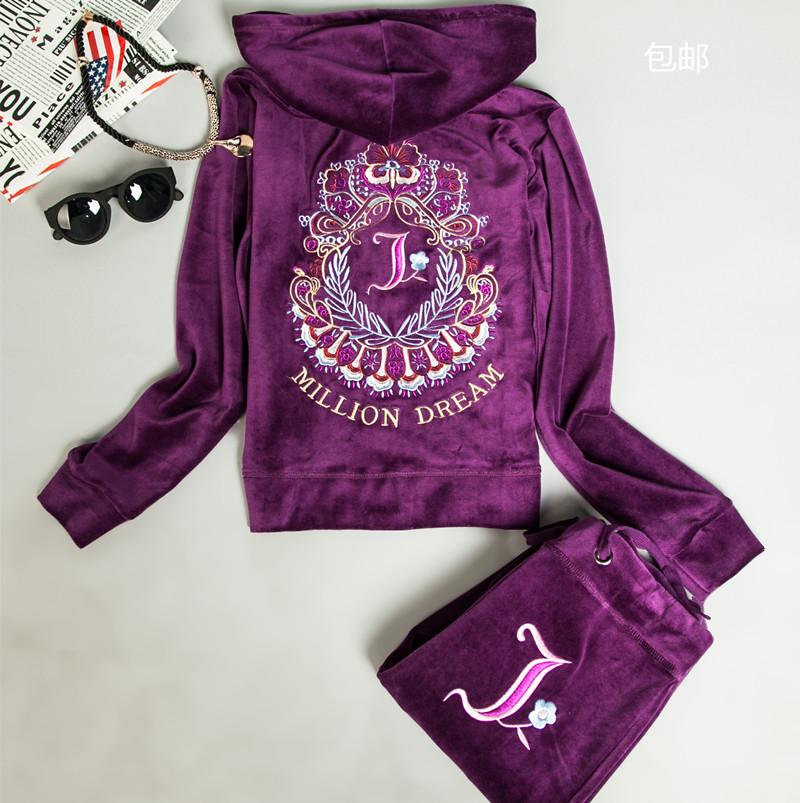 New arrival 2016 Velvet sports set women's spring and autumn sweatshirt sportswear womens 2piece fashion set tracksuits(China (Mainland))