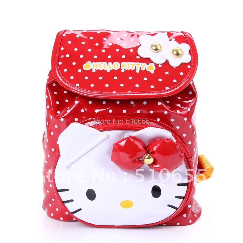 2015 New Arrived Hello Kitty Schoolbag Kids' Backpack Children Loved Rainproof PU Bag, Red,Roseo,Part Free Shipping Wholesale(China (Mainland))