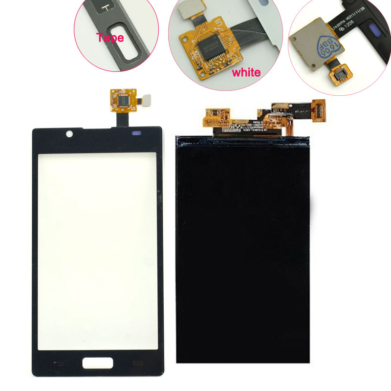 Replacement lcd screen display for LG Optimus L7 P700 P705 Touch Screen Glass Panel Digitizer Parts Black / White(China (Mainland))
