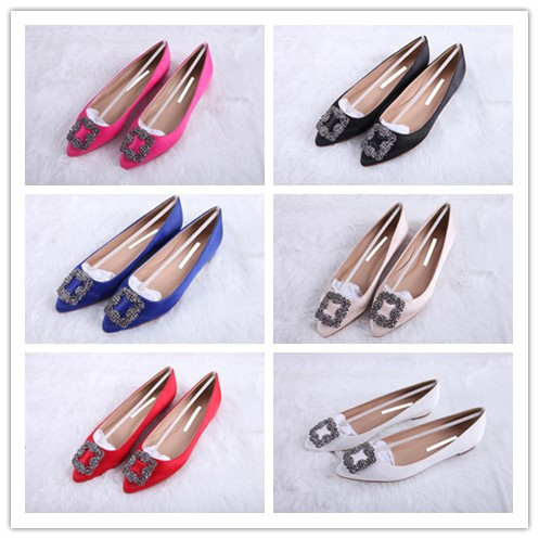 Designer Brands Mb 2014 shoes spring and autumn satin fabric flat rv side buckle rhinestone flat heel pointed toe women's shoes(China (Mainland))