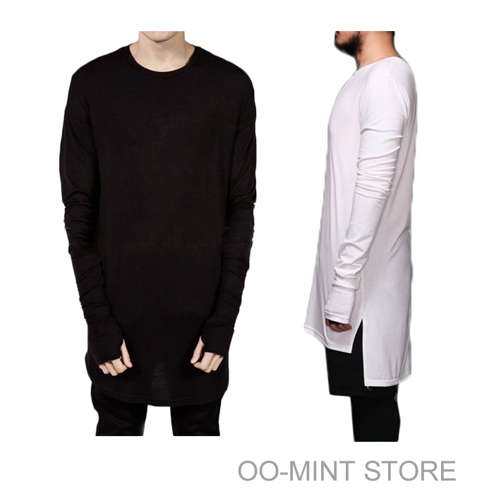 New Thumb Hole Cuffs Long Sleeve Tyga Swag Style Man High Low Side Split Hip Hop Top Tee T Shirt Crew T-shirt Men Clothes(China (Mainland))