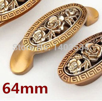Гаджет  5pcs 64mm Zinc Alloy Kitchen Furniture pulls antique bedroom drawer handle knob with Rose Carving None Мебель