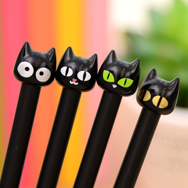 0.5mm Cute Cartoon Kawaii Plastic Black Cat Gel pen Crative Gift  for Kids School Student Writing Free shipping<br><br>Aliexpress