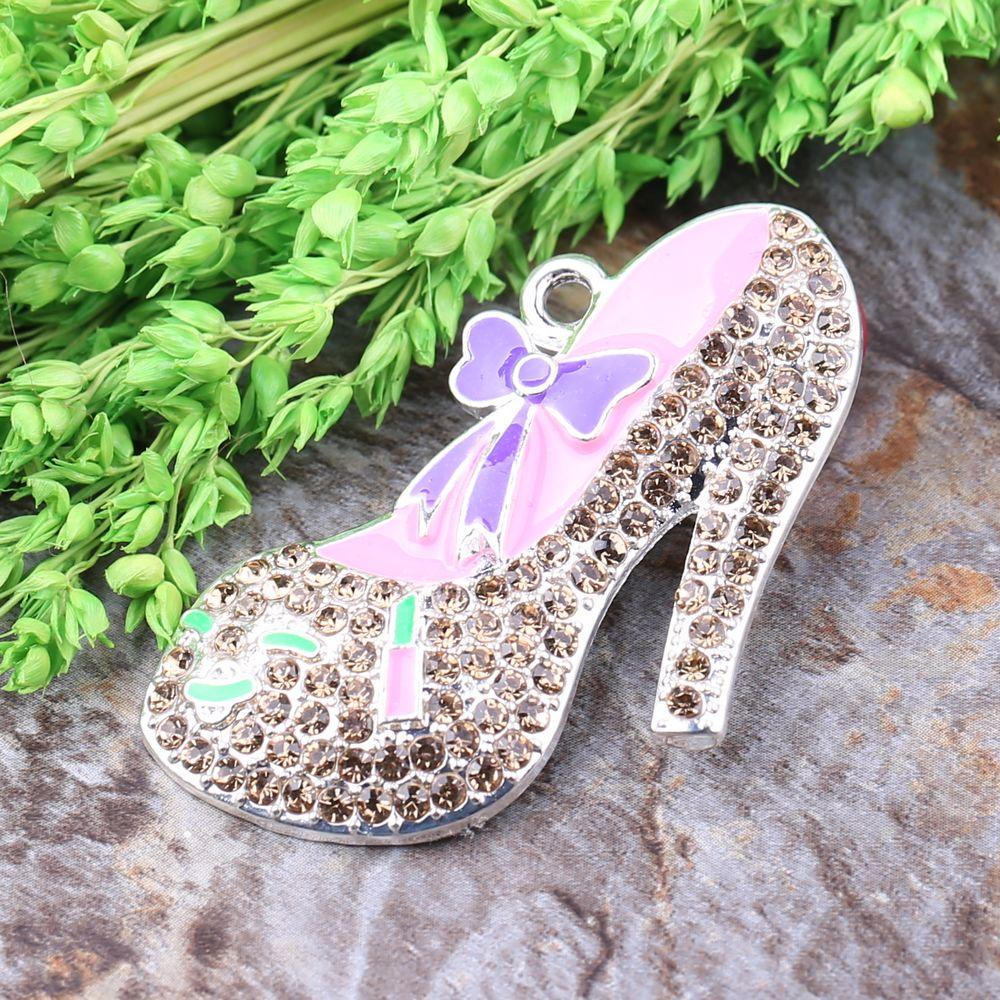 Free Shipping 10pcs/lot Cordial Custom Design Rhinestone Chunky Necklace High-heeled Shoes Character Alloy Pendant(China (Mainland))