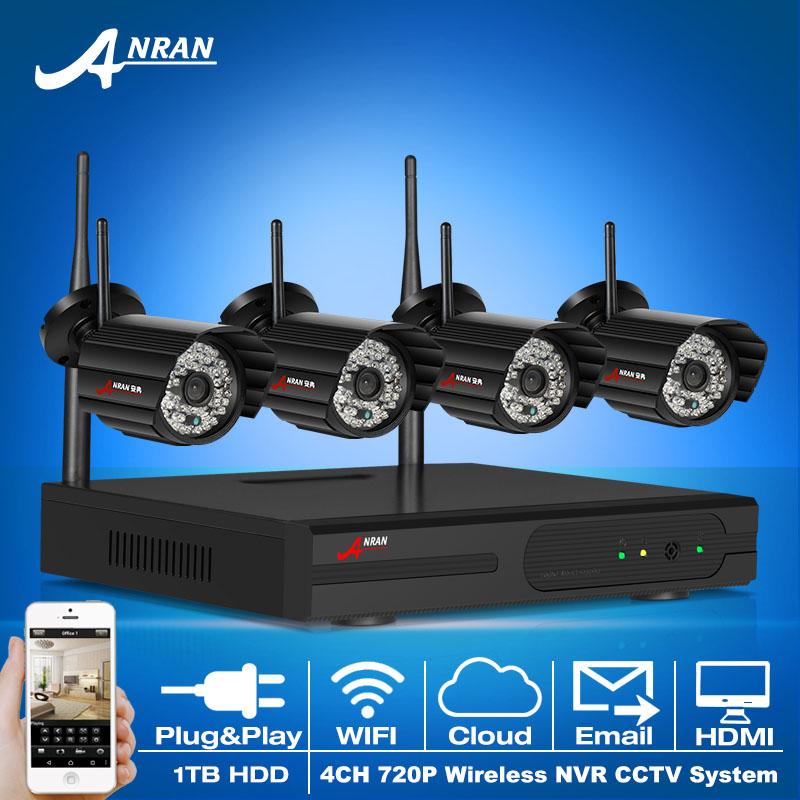 4CH NVR CCTV System 1TB HDD 720P IP Camera WIFI Outdoor IR Night Vison H.264 Home Security Wireless Surveillance Camera(China (Mainland))