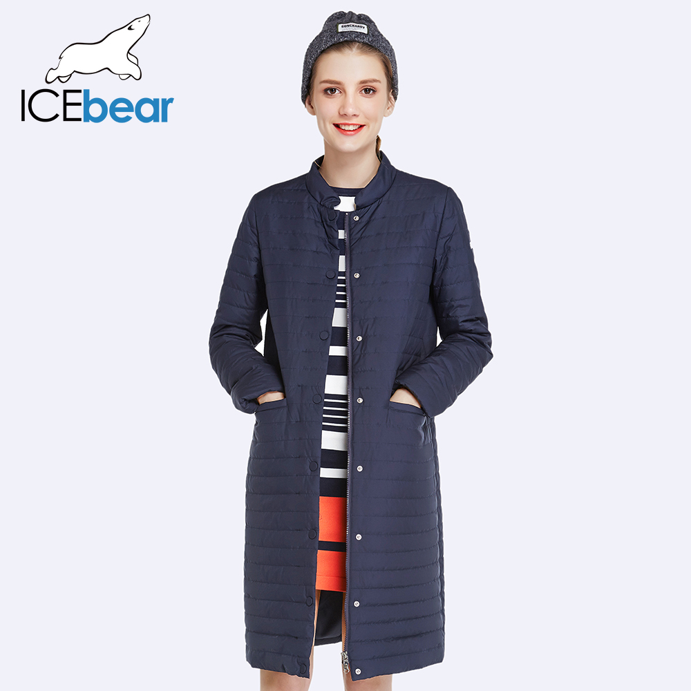 ICEbear 2017 New Autumn Spring Long Jacket Women Coat Padded Cotton Jacket Outwear Warm Parka Women's Clothing 17G203D(China (Mainland))