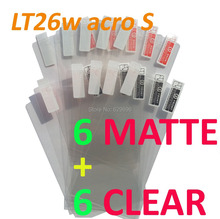 12PCS Total 6PCS Ultra CLEAR + 6PCS Matte Screen protection film Anti-Glare Screen Protector For SONY LT26w Xperia acro S