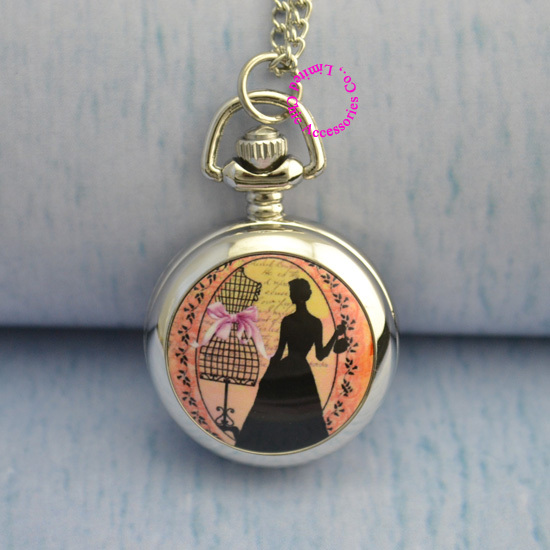 Minimum order amount US$15 (can mix order) silver mirror elegant beautiful woman girl lady princess pocket watch necklace chain<br><br>Aliexpress