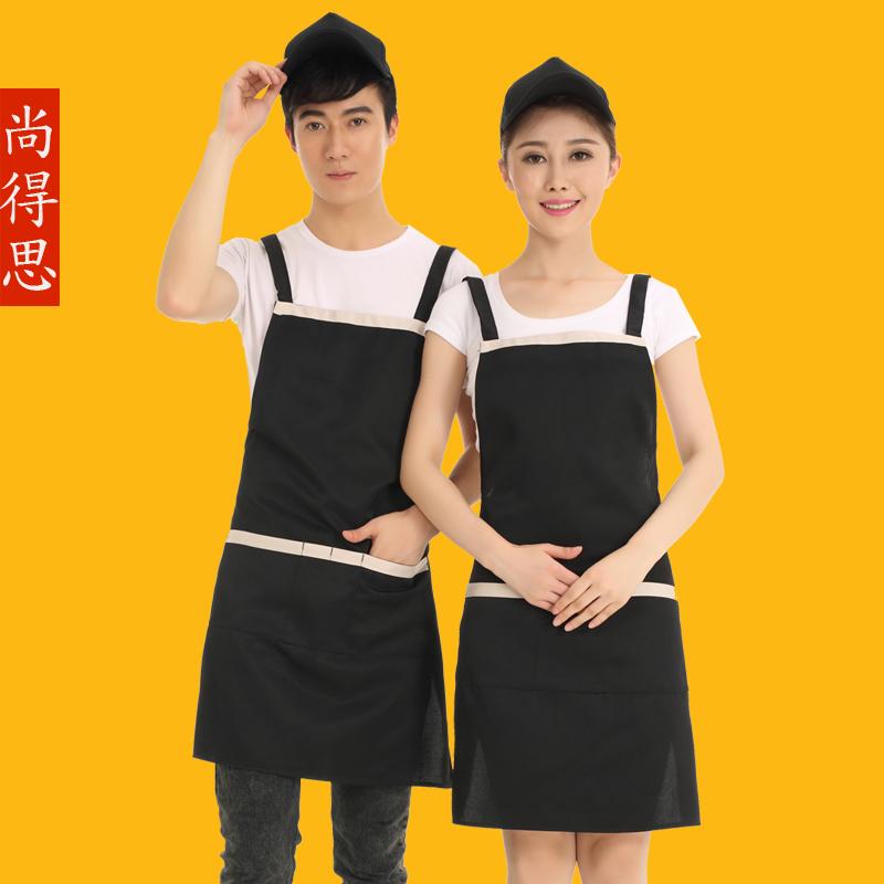 2016 hot for adjustable adult black stripe bib apron chef waiter kitchen cook with pockets(China (Mainland))
