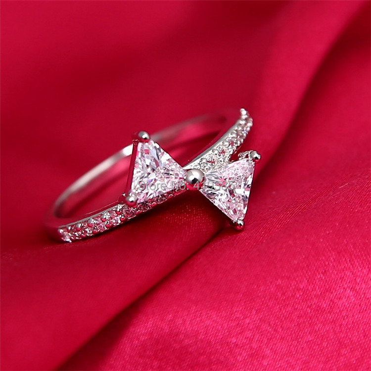 2014 Newest Butterfly Knot Full Rhinestone Plated White Gold Ring Girl Fashion Jewelry - Linda's Top Store store