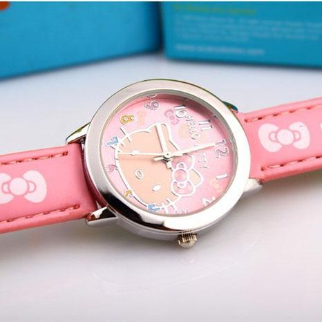 2015 Free Shipping fashion Hello Kitty Quartz Watch Children Girl Leather alloy Watch(China (Mainland))