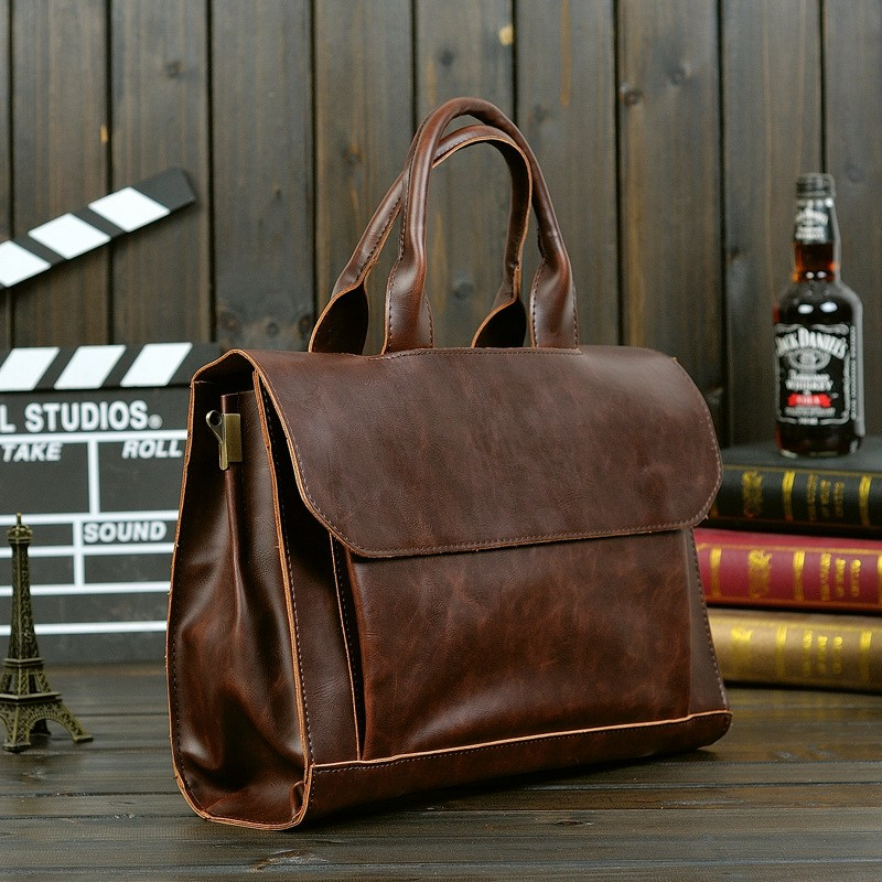 Vintage Men Business Faux PU Leather Briefcase Male Travel Causal Messenger Shoulder Portfolio Laptop Bags Lawer Handbag Bolsa (12)