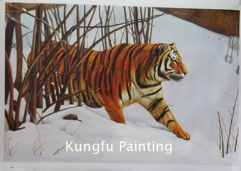 ani415 100% handmade unframed good quality tiger painting living room wall pictures animal painting(China (Mainland))