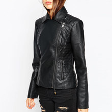 Hot New Fashion Slim Style Motocycle Jacket Pilot PU Leather Jackets Women Black Color Brand Punk Zipper Jacket Jaqueta Couro
