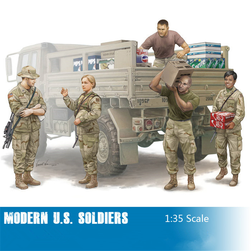 Trumpeter 1/35 Scale Modern U.S. soldiers Logistics Supply Team Plastic Assembly Military Figures Models 00429(China (Mainland))