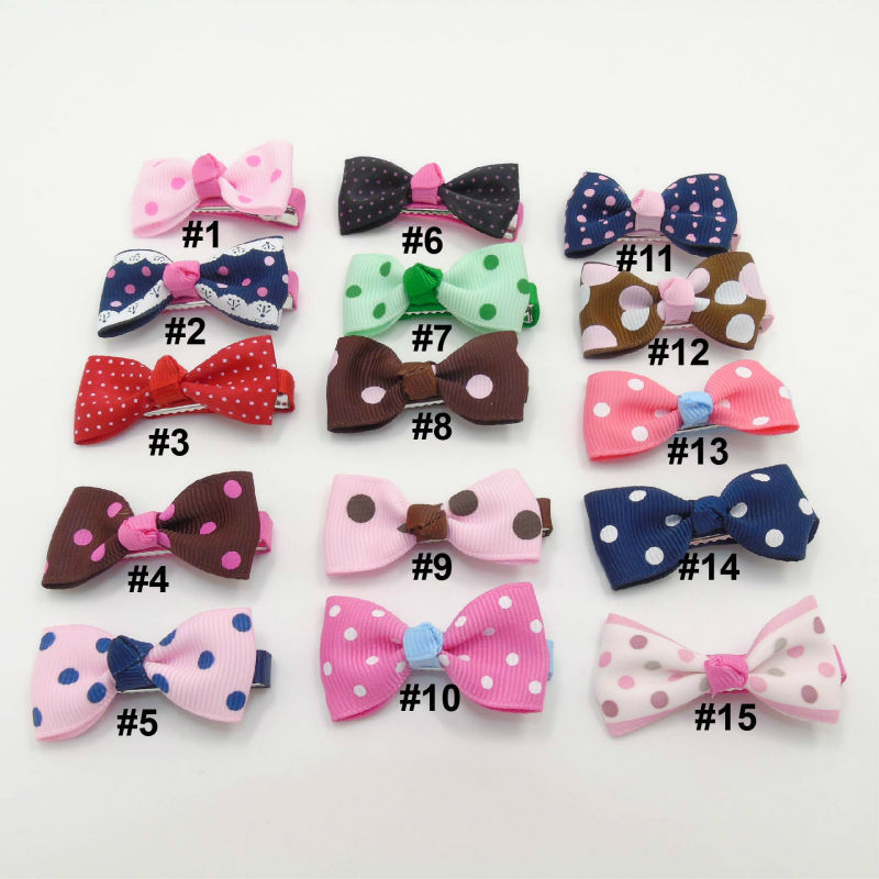 45pcs/lot Adorable Polka Dot Hair Clips Grosgrain Satin Mini Hair Bow Grips Newborn Baby Shower Hair Barrettes Tiny Hairpins(China (Mainland))