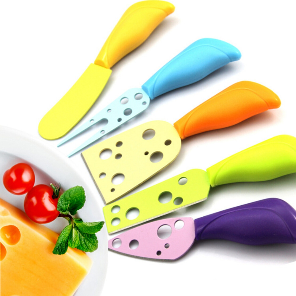 New 5 Pcs/Set Cheese Knife Set Cheese Fork Butter Knife MUti-color Cheese Cutter Kitchen Cooking Gadget(China (Mainland))